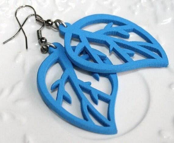 Blue leaf Earrings , Wooden blue leaf earrings , Sky blue wooden earrings, Teens bue earrings, Bohemian blue earrings -Etsy Holiday Gift