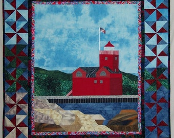 Quilted Wall Hanging Pattern, Pattern for Lighthouse Quilt, Big Red Lighthouse Quilt