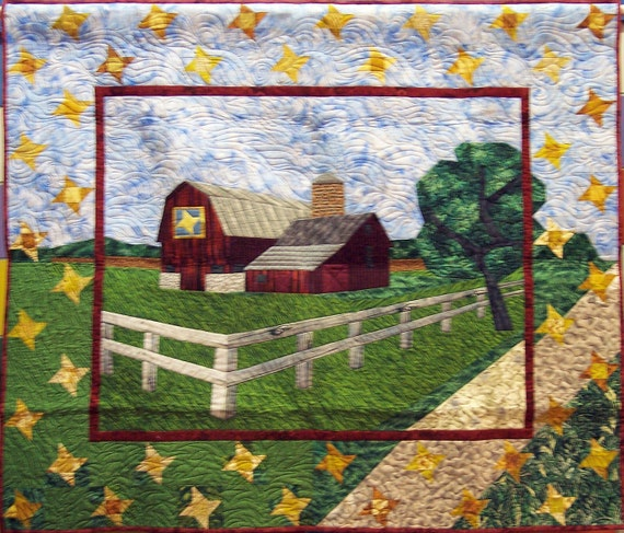 Barn Quilt, Along the Quilt Trail quilted wall hanging, Quilted wall hanging