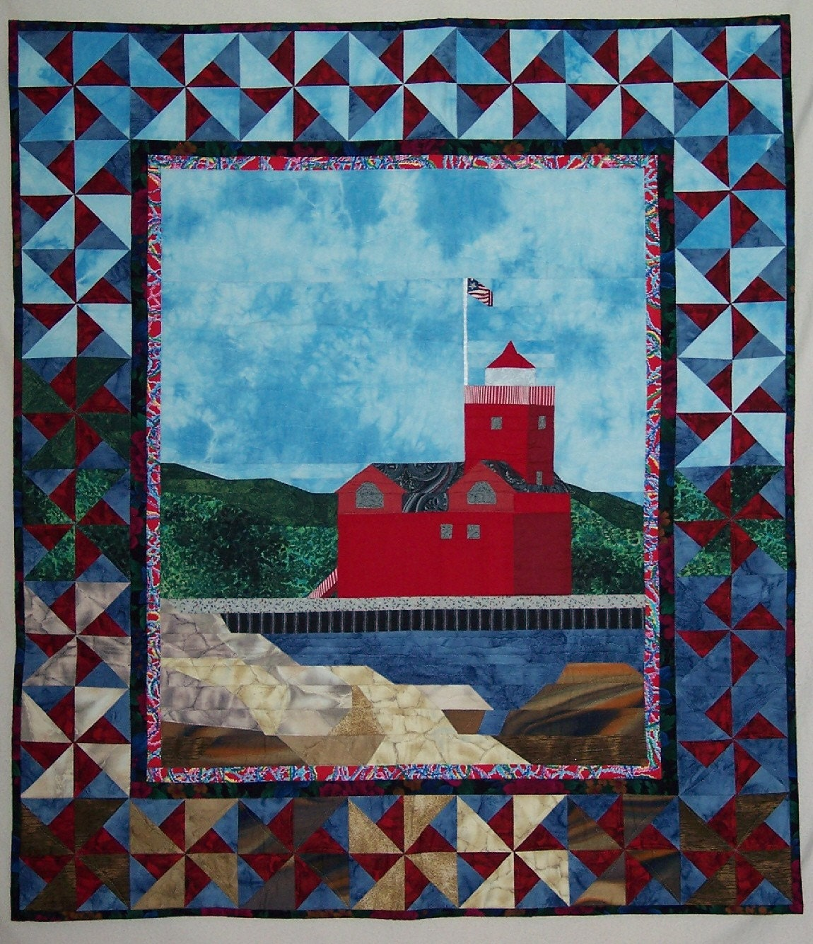 Quilt pattern big red lighthouse quilted wall hanging for Red door design quilts