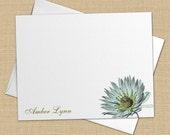 Botany - Set of 8 CUSTOM Personalized Flat Note Cards/ Stationery
