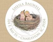 Baby Bird Nest - Custom Address Labels or Stickers