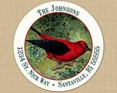 Christmas Cardinal Red Bird - CUSTOM Address Labels or Stickers