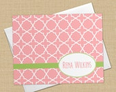 Quatrefoil Pattern - Set of 8 CUSTOM Personalized Flat Note Cards/ Stationery