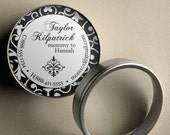 Classic Damask - 50 CUSTOM Round Calling Cards/ Business Cards/ Tags in Tin