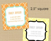 Quatrefoil Pattern - 50 Custom Square Business or Calling Cards