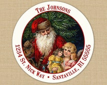 Old Fashioned Santa - CUSTOM Christmas Address Labels or Stickers