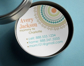 Round and Round (Mod Dots) - 50 CUSTOMIZABLE Round Calling Cards/ Business Cards/ Tags in Tin