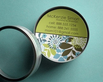 McKenzie (Mod Floral) 50 CUSTOM Round Calling Cards/ Business Cards/ Tags in Tin