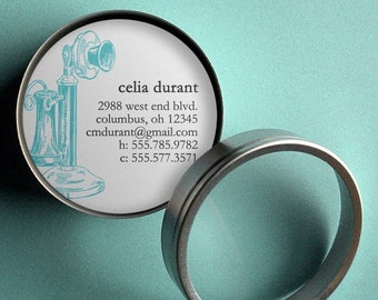 Vintage Candlestick Telephone - 50 CUSTOM Round Calling Cards/ Business Cards/ Tags in Tin