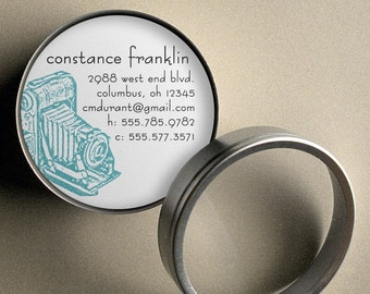 Vintage Camera  - 50 CUSTOM Round Calling Cards/ Business Cards or Tags in Tin