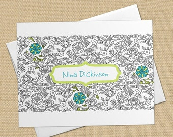 Nina (Mod Floral) Set of 8 CUSTOM Personalized Flat Note Cards/ Stationery