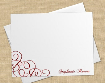 Simple Swirls - Set of 8 CUSTOM Personalized Flat Note Cards/ Stationery