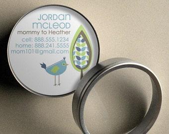 Jordan (Retro Tree and Bird) - 50 CUSTOM Round Calling Cards/ Business Cards/ Tags in Tin