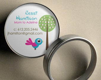 Jessi (Mod Bird and Tree) - 50 CUSTOMIZABLE Round Calling Cards/ Business Cards/ Tags in Tin