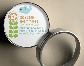 Skyler (Retro Tree and Bird) - 50 CUSTOM Round Calling Cards/ Business Cards/ Tags in Tin