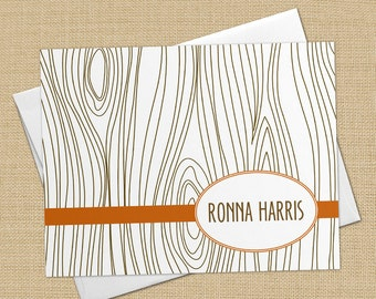Faux Bois (Wood Grain) - Set of 8 CUSTOM Personalized Flat Note Cards/ Stationery