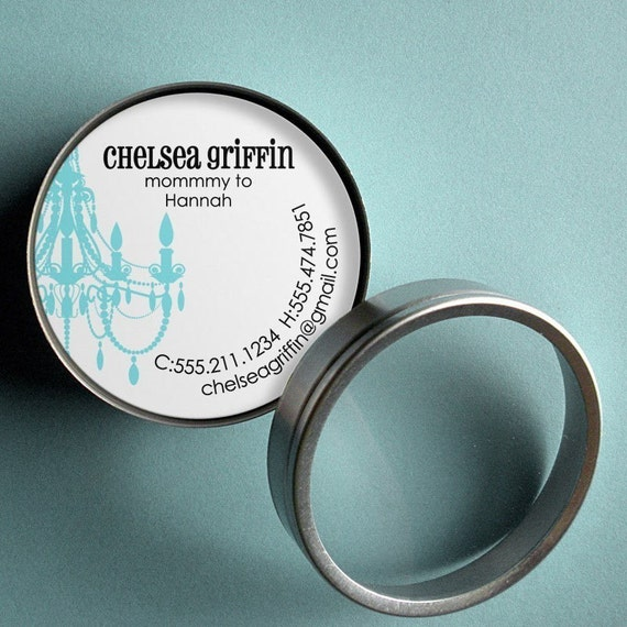 Classic Chandelier  - 50 CUSTOM Round Calling Cards/ Business Cards/ Tags in Tin