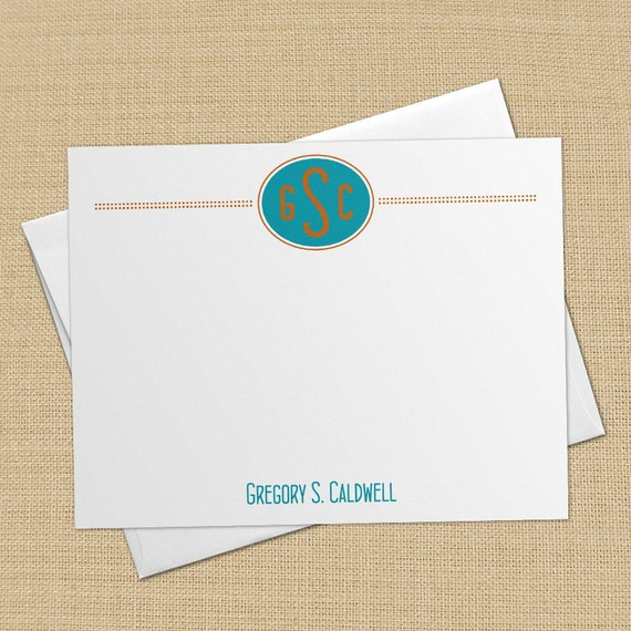 Oval Monogram - Set of 8 CUSTOM Personalized Flat Note Cards/ Stationery