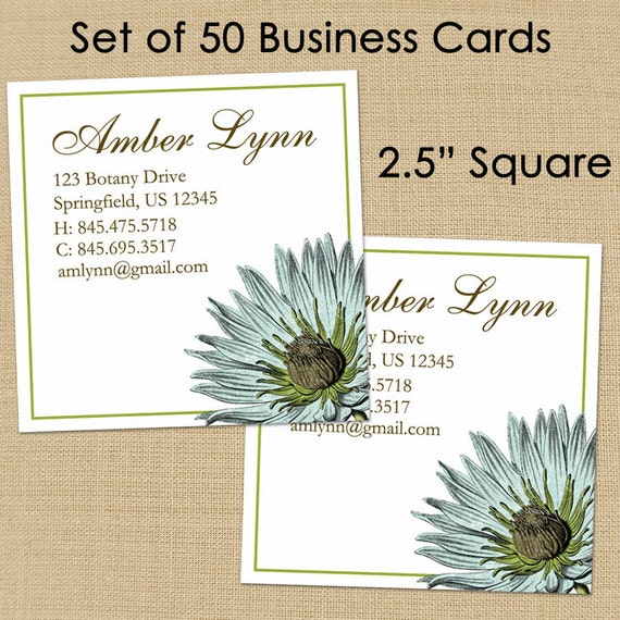Botany 50 custom square business or calling by for Custom square business cards