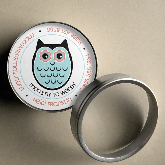 Heidi (Retro Owl and Tree) - 50 CUSTOM Round Calling Cards/ Business Cards/ Tags in Tin
