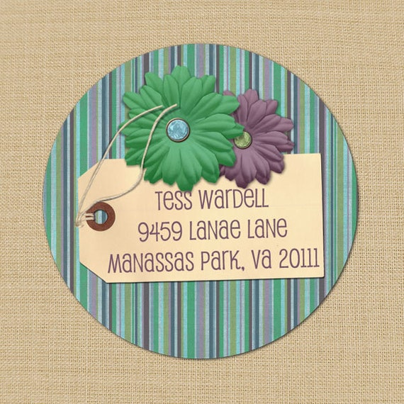 Faded Pinstripes & Flowers Custom Address Labels or Stickers