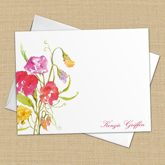 Sweet Pea Flowers - Set of 8 CUSTOM Personalized Flat Note Cards/ Stationery