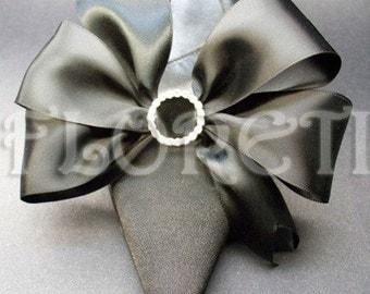 Sassy Black Satin Bow Shoe Clips w Swarovski Gifts -Ready Made