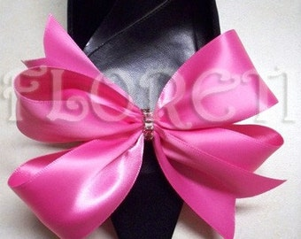 Sassy Designer Shoe Bow Clips Hot Pink Satin Gifts -Ready Made