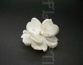 Couture Silk Dogwood Rose Flower White Bridal Hair Clip