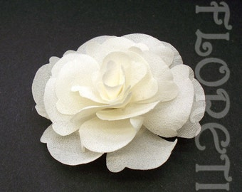 Small Ivory Magnolia Silk Flower Couture Bridal Hair Clip -Ready Made