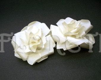 Snow Bride Small Ivory Silk Rose Buds Wedding Hair Flower Clip Duo