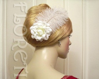 White Satin Sophia Gardenia Wedding Headwear Fascinator Hair Flower Accessory