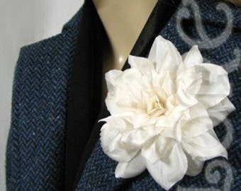 Couture Ivory Silk Camellia Wedding Dress Pin Bridal Hair Clip  -Ready Made