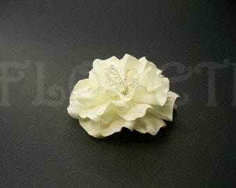 Small Wedding Hair Flower Ivory Gardenia Bridal Hair Clip Veil Accessory -Ready Made