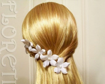 Pearl Orchid Stephanotis Small White Bridal Hair Flower Pin -One, PIF
