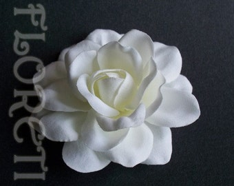 Sophia Wedding Silk Gardenia Hair Flower White to Off White Bridal Accessory -Ready Made