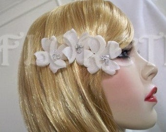 Couture Ivory Dogwoods Petite Bridal Hair Pins w Swarovski Crystals, Set of 3 - Ready Made