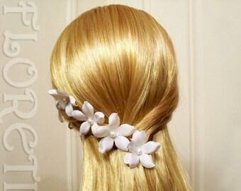 White Pearl Silk Orchid Stephanotis Bridal Hair Pins, Set of 3  - Ready Made