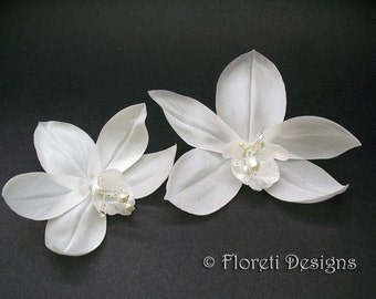 Couture Bridal Hair Flowers White Cymbidium Orchids, Set of 2