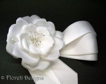 Authentic Couture Bridal Camellia Choker White Wedding Silk Flower Hair Clip Swarovski Crystals
