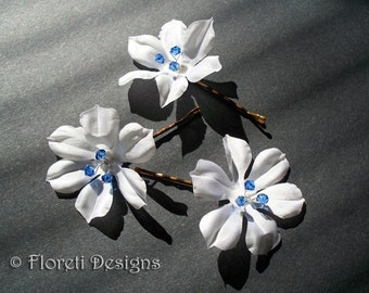 White Camellia Petite Bridal Hair Pin w Blue Crystals, One -Ready Made