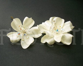 Small Bridal Hair Pins Ivory Gardenia Flower Blue Crystals, Two -Ready Made