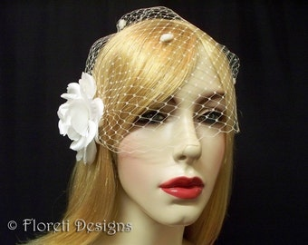 Birdcage Wedding Veil White French Bandeau Dotted 9in -Ready Made
