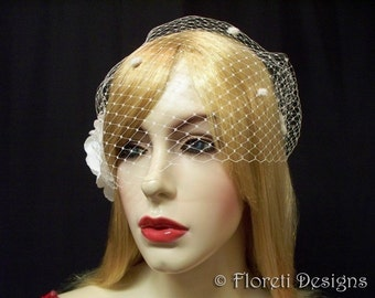 Birdcage Wedding Veil Ivory Dotted French Bandeau 9in -Ready Made