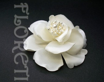 Couture Small Ivory Satin Magnolia Bridal Silk Hair Flower Accessory Clip