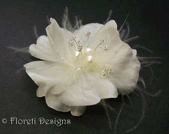 Light Ivory Rose Silk Bridal Hair Accessory Fascinator Pearls Crystals -Ready Made