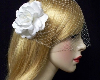 Birdcage Veil Set White Bandeau n Rose Hair Flower Couture -Ready Made