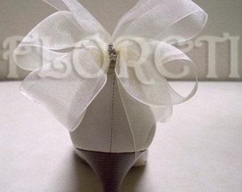Sassy Ivory Organdy Bow Shoe Clips w Swarovski Crystals -Ready Made