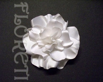 Pure White Satin Gardenia Couture Bridal Hair Flower Accessory  -Ready Made